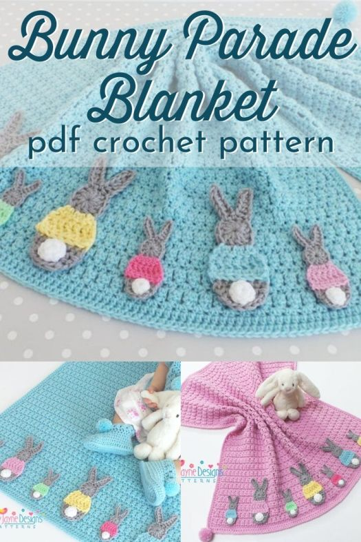 Adorable bunny parade blanket crochet pattern. This adorable little baby blanket would make a lovely Easter gift! super sweet little bunny blanket! #crochetpattern #crochetblanketpattern #crochetthrowpattern #crochetafghanpattern #craftevangelist
