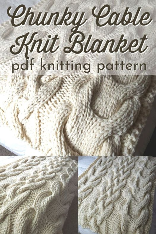 Gorgeous chunky cable knit blanket knitting pattern. This would make a great first cable-knit project for the ambitious beginner! I love the giant cables on this gorgeous throw! This would look perfect on a master bed or on a living room couch! #knitblanketpattern #knitthrowpattern #knitafghanpattern #knitknitknit #giantknits #craftevangelist