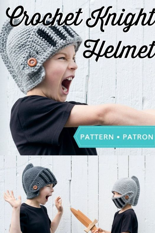 Super fun costume crochet hat pattern. Fun knight helmet crochet pattern for men and boys. Love these kind of fun costume hats! #crochetpattern #crochethelmet #crochetknightpattern #crochethatpattern #craftevangelist