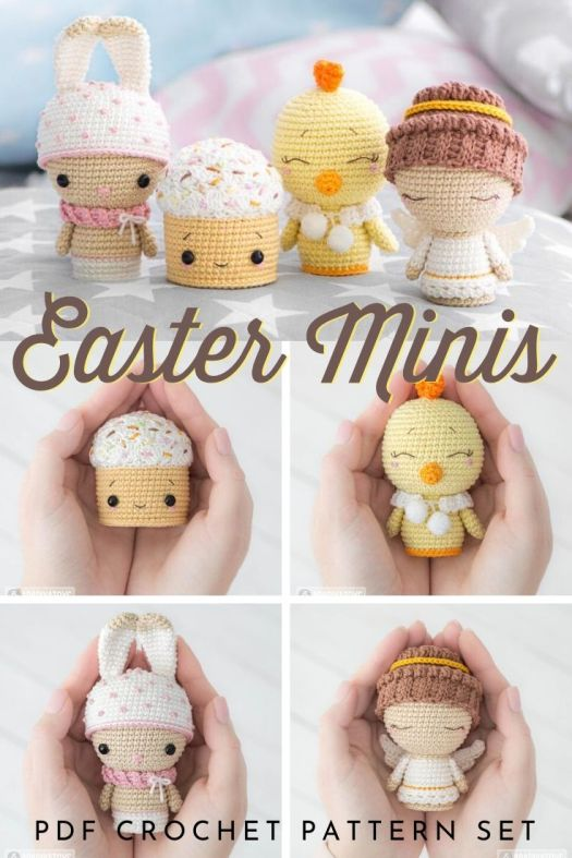 Cute adorable little set of Easter amigurumi crochet toys to make! Such a sweet little set of crochet patterns. Plenty of time to make for Easter! #crochetpattern #amigurmipattern #crochetforeaster #eastercrochet #stuffedtoys #crochettoys #patternroundup #craftevangelist