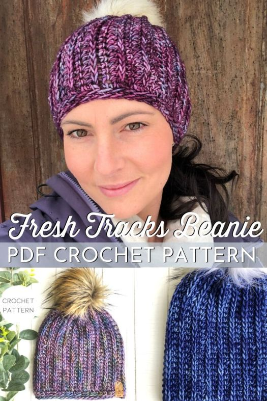 Crochet Pattern for this knit-look ribbed beanie. This fitted beanie is perfect for men or women and is a fun take on a classic ribbed beanie #crochetpattern #crochetbeaniepattern #crochethatpattern #crochettoquepattern