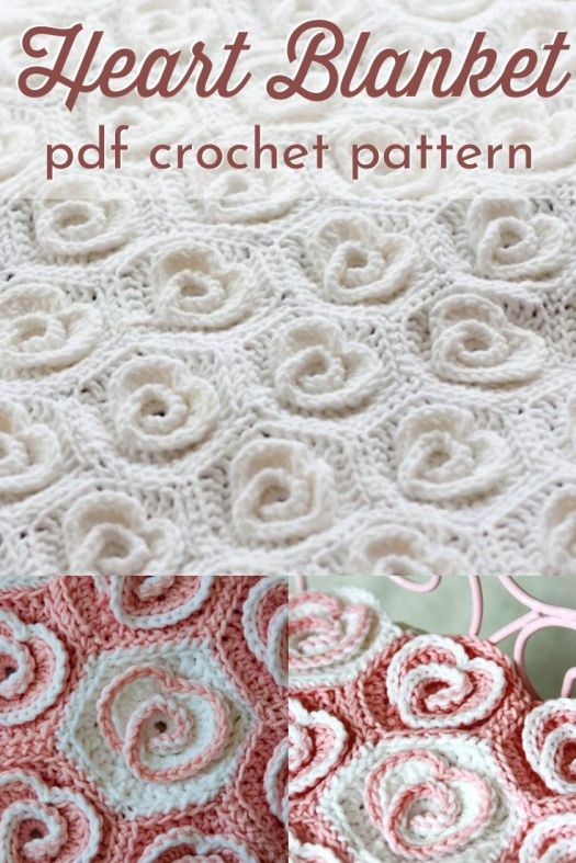 Gorgeous textured crochet heart blanket pattern. These sweet rosette heart motifs join together to make the loveliest throw! Can't wait to make this stunning afghan! #crochetpattern #crochetblanketpattern #crochetthrowpattern #crochetafghanpattern #craftevangelist