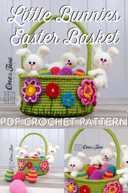 Adorable Little Bunnies Easter Basket with a functional basket to hold Easter goodies, complete with patterns for the bunnies and the eggs! How adorable would this be at a fundraising auction?! So fun! Any kid would be delighted to be given this adorable Easter basket! #EasterBasket #crochetEasterBasket #CrochetPattern #bunnybasketpattern