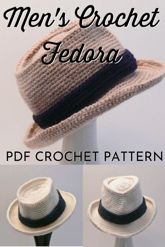 Crochet Fedora Pattern for men and boys. From sizes newborn to Men's XXL, this fun summer crochet hat pattern is perfect for the man in your life! #crochethat #crochetfedora #fedorapattern #crochethatpattern #crochetpattern #craftevangelist
