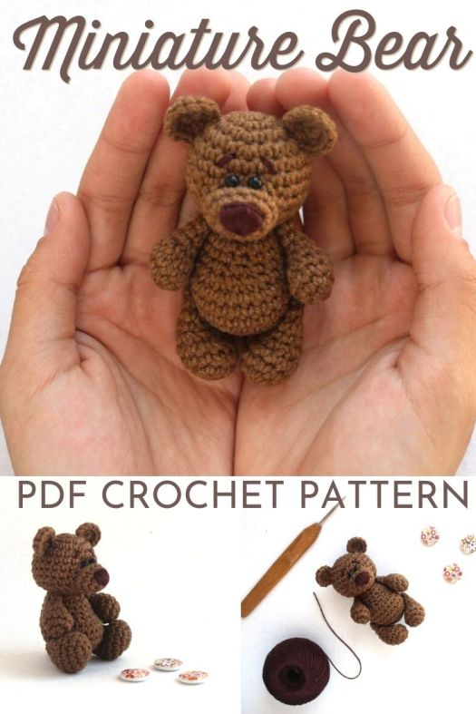 Cute little miniature bear amigurumi crochet pattern! Love this tiny stuffed toy pattern! I love to make these sweet little quick handmade gifts! #crochetpattern #amigurumipattern #crochetbear #miniaturecrochet #miniatureamigurumi #patternroundup #craftevangelist