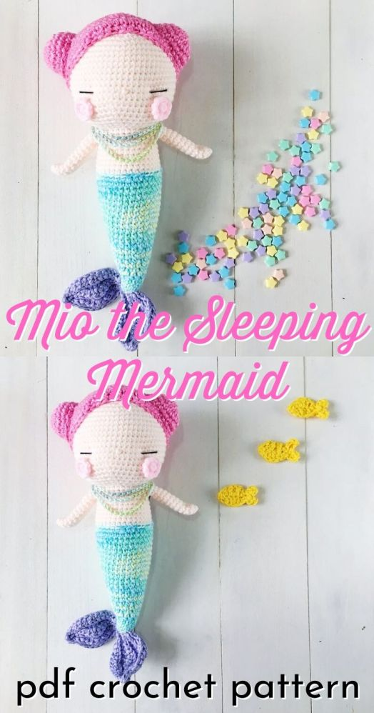 Beautiful little mermaid doll amigurumi crochet pattern. I love this sweet and simple little mermaid. Lovely pattern for a handmade gift idea! #amigurumi #amigurumipattern #crochetpattern #mermaidpattern #crochetmermaid