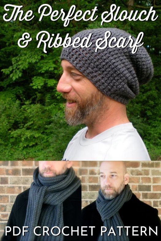 Perfect Slouch & Ribbed Scarf crochet pattern. Super easy beginner crochet hat pattern for men and boys. Super easy ribbed scarf crochet pattern with hat set. Love this simple slouchy beanie crochet pattern! #crochetpattern #crochethatpattern #hatpattern #crochetslouchyhat #craftevangelist