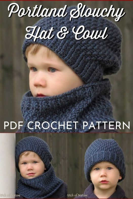 Textured slouchy hat and cowl for men and boys crochet pattern. Lovely crocheted beanie pdf pattern to download and includes a matching cowl! #crochetpattern #crochethatpattern #crochethat #hatpattern #craftevangelist