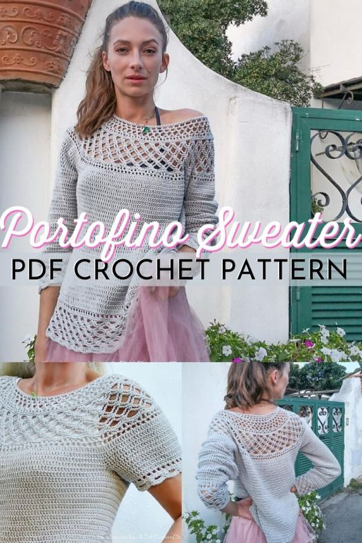 Gorgeous pdf crochet pattern for this lovely crocheted sweater. I love the lacy top and bottom of this long crocheted sweater, with both long sleeved and short sleeved options in the pattern. Can't wait to make this! #crochetpattern #crochetsweater #sweaterpattern #