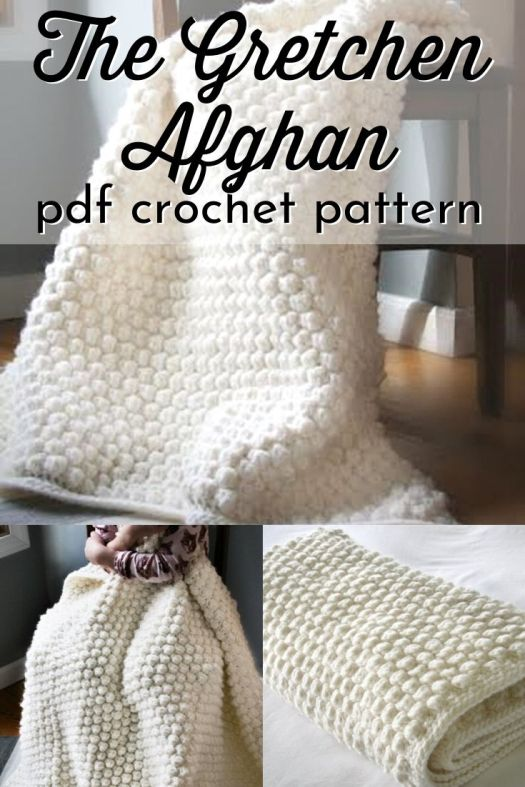 Gorgeous bobble textured crochet pattern for this simple and luxurious afghan! Can wait to make a comfy throw like this! #crochetpattern #crochetthrowpattern #crochetafghanpattern #crochetblanketpattern #craftevangelist