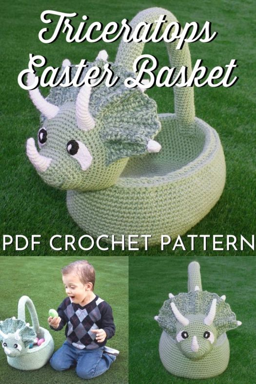 Adorable dinosaur Easter basket, this Triceratops Basket crochet pattern makes a perfect handmade Easter basket for a little boy! Get making in time for Easter! #crochetpattern #crochetEasterbasket #easterbasketpattern #amigurumibasket