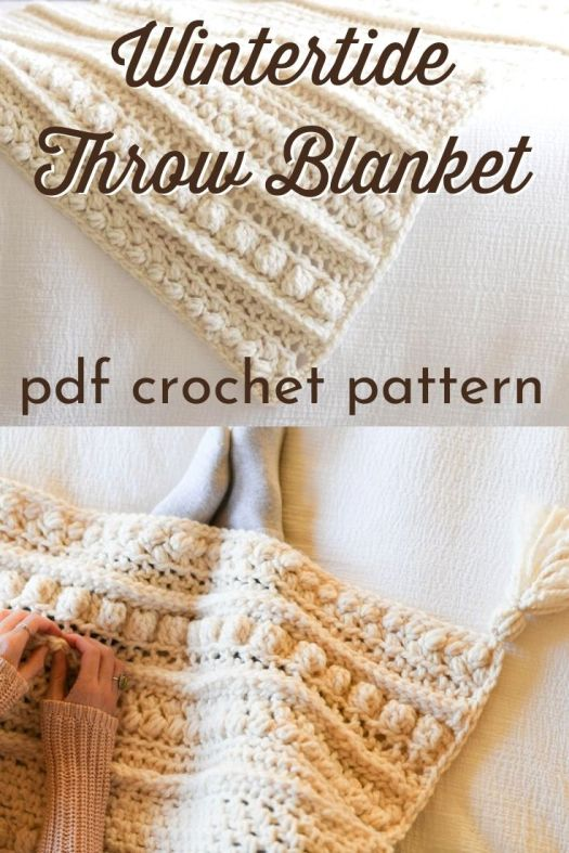 Full of texture, bobbles, and knit-like stitching, this warm winter throw is the ultimate in comfort and style. The various stitch patterns will keep your attention as you make it and the super bulky yarn lends to a quick project. Cuddle up under the squishiest, boho inspired winter blanket you've ever made! #crochetpattern #crochetthrowpattern #crochetblanketpattern #crochetafghanpattern #craftevangelist