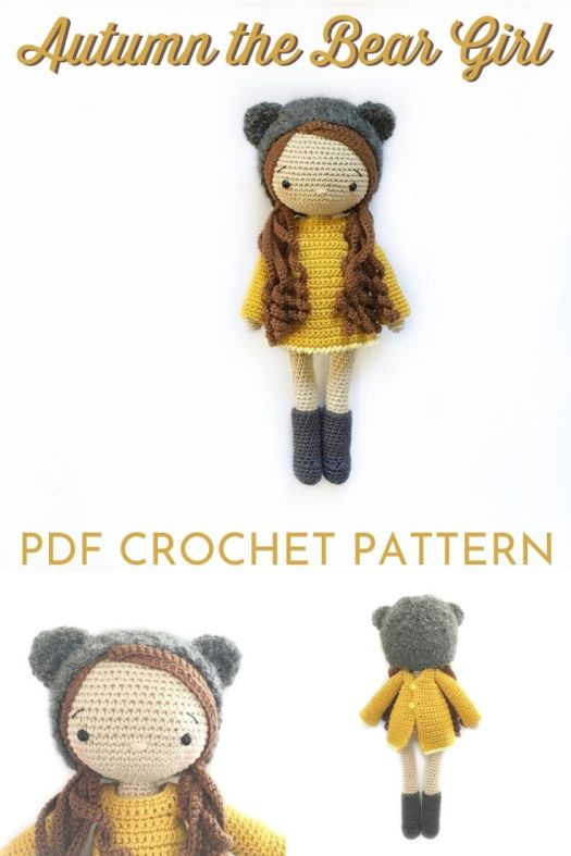 Sweet Amigurumi Doll Crochet Pattern with a little bear hat. Lovely simple doll pattern to crochet. #crochetpattern #amigurumipattern #amigurumidoll #crochetdollpattern #craftevangelist