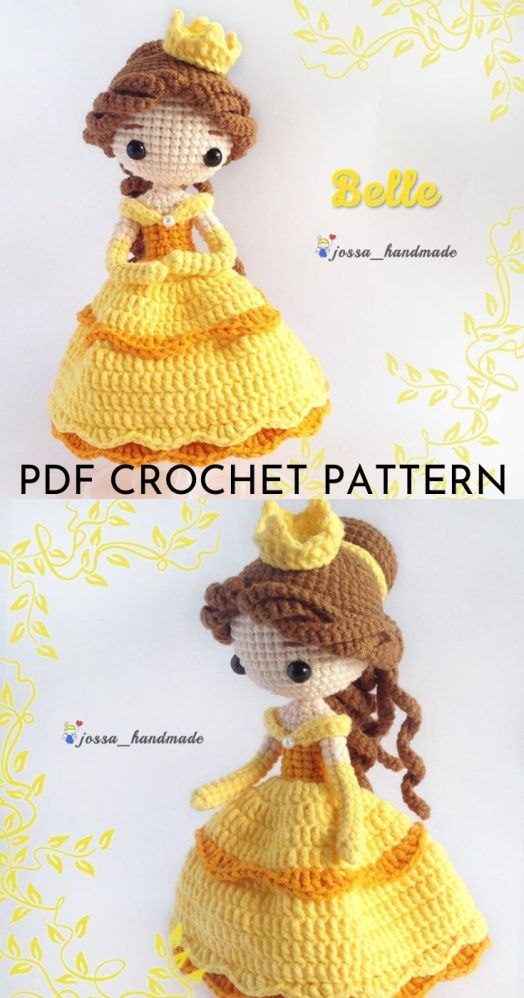 Beauty and the Beast Belle Amigurumi Crochet Doll pattern. Lovely princess Belle crochet pattern to make! #crochetpattern #amigurumipattern #amigurumidoll #crochetdollpattern #craftevangelist
