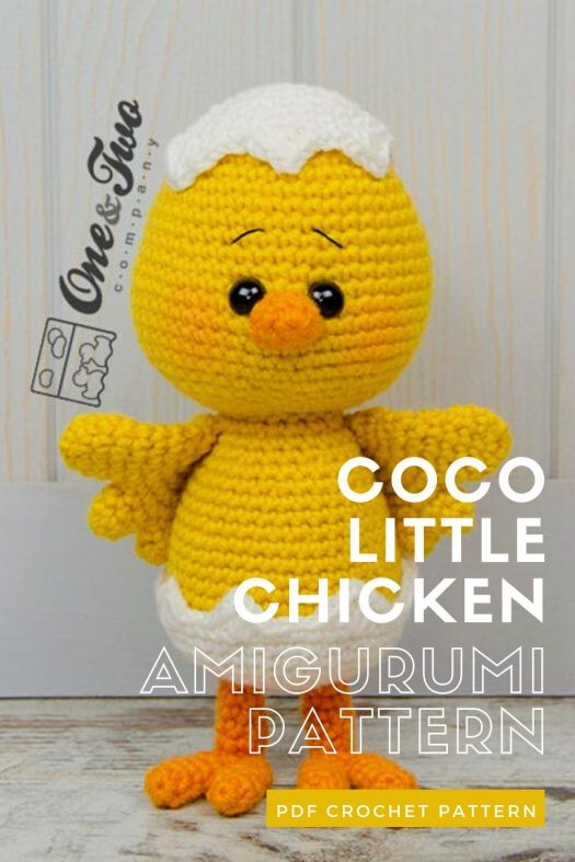 Adorable little chicken crochet amigurumi pattern. Super cute little chick with broken egg shell crochet pattern. Perfect Easter handmade gift idea #crochetpattern #eastercrochet #springcrochet #amigurumipattern