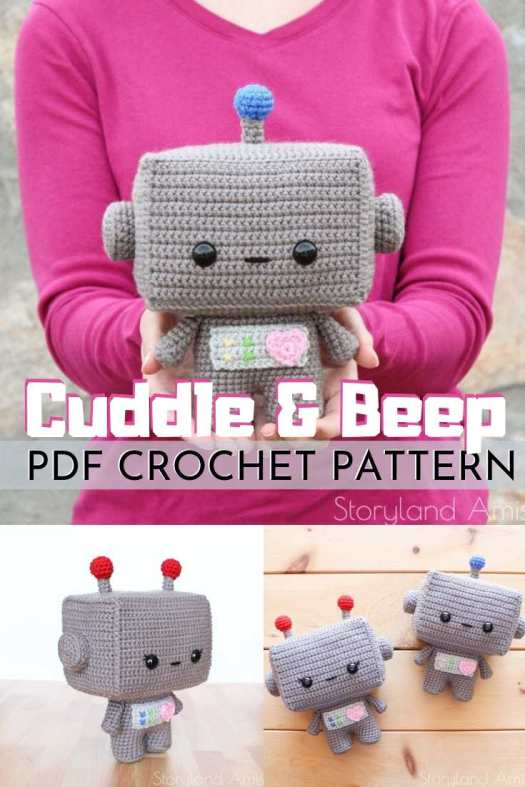 Super cute robot amigurumi crochet pattern. With one pattern make two cute little robot twins! Adorable cuddly robot toy patterns to make! #amigurumipattern #crochetpattern #handmadetoys #diytoys #crochet #amigurumi #craftevangelist