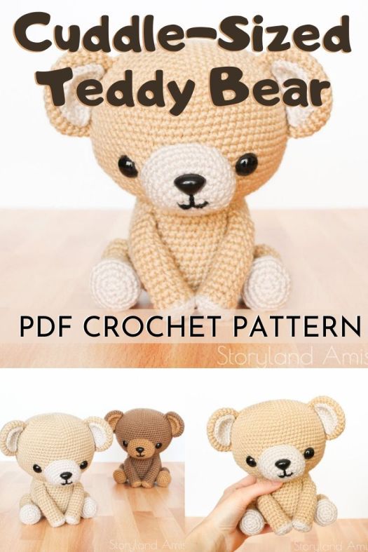 Sweet adorable cuddle-sized teddy bear by Storyland Amis. Such a cute cuddly stuffed toy crochet pattern to make this cuddly amigurumi bear. #crochetpattern #amigurumipattern #diytoys #handmadetoys #craftevangelist