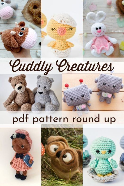 Adorable collection of crocheted and knit amigurumi patterns. This is a great time to make something cute and cuddly to bring satisfaction and comfort. I love amigurumi! Check out this great round up of lovely patterns! #crochetpattern #amigurumipattern #knittingpattern #patternroundup #craftevangelist