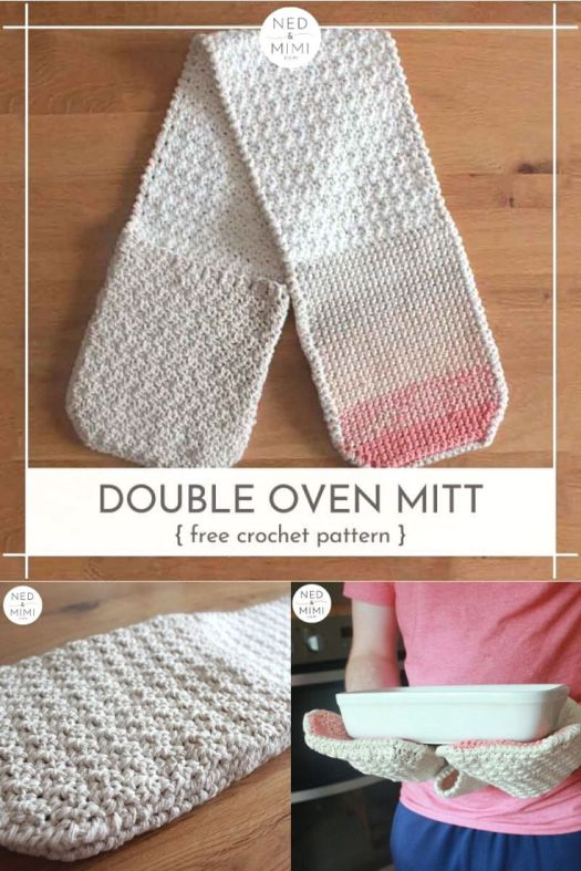Free crochet pattern for this double oven mitt. Long, large double potholders, like Great British Baking Show. I need to make one of these for my husband's big hands! #crochetpattern #freecrochetpattern #freecrochetpotholder #nedandmimi #craftevangelist #patternroundup
