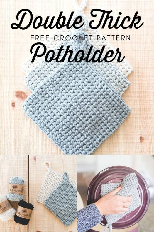 Free crochet pattern by Sewrella for Double Thick Crochet Potholder. these make a lovely gift! Quick to crochet and free pattern! Check out Craft Evangelist's free pattern round up to find this great pattern! #crochetpattern #freecrochetpattern #freepotholderpattern #crochetpotholderpattern #craftevangelist