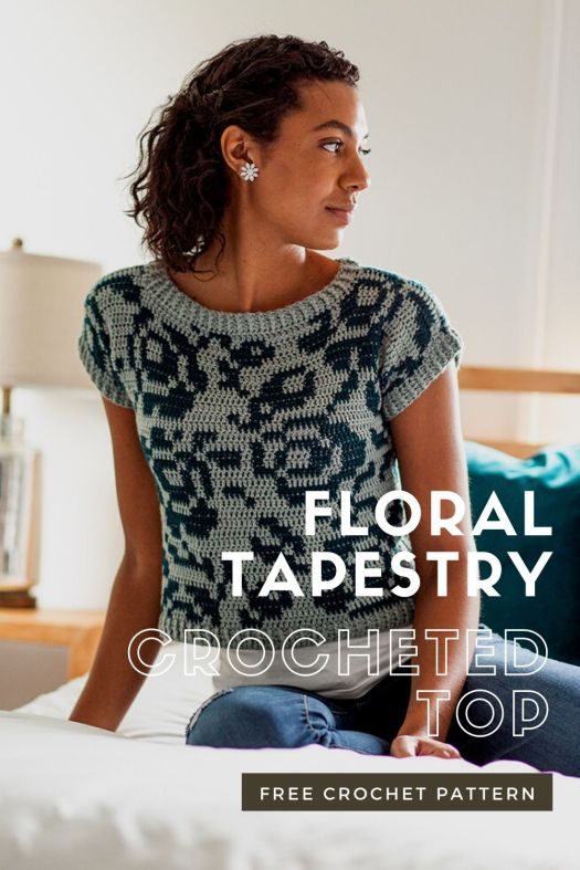 Gorgeous tapestry crocheted top free crochet pattern! Love this gorgeous free downloadable crochet top pattern Check it out and other free knit and crochet patterns at craftevangelist.ca #freecrochetpattern #freecrochettoppattern #crochetedtop #crochetedcroptop #freetapestrycrochetpattern #wecrochet #craftevangelist