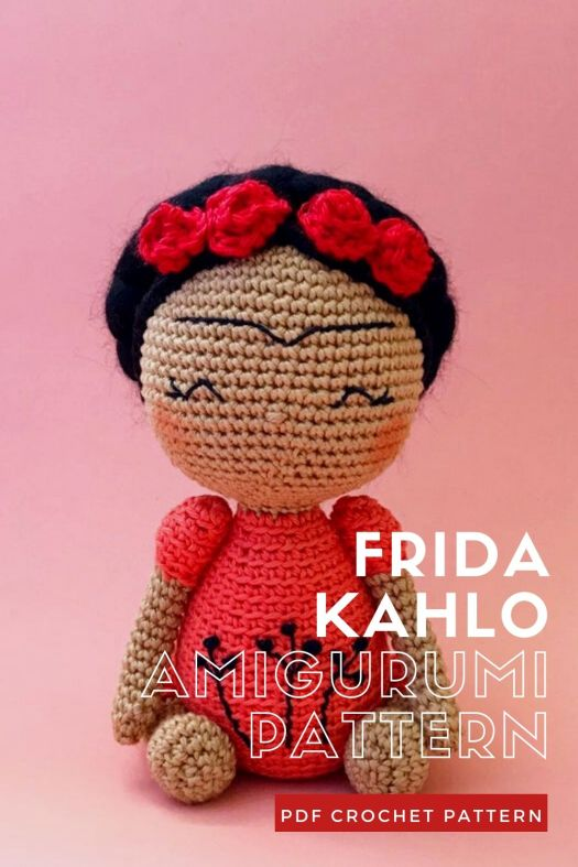 Beautiful Frida Kahlo crochet doll pattern. Lovely amigurumi doll pattern to make to celebrate International Women's Day. #crochetpattern #amigurumipattern #amigurumidoll #crochetdollpattern #craftevangelist