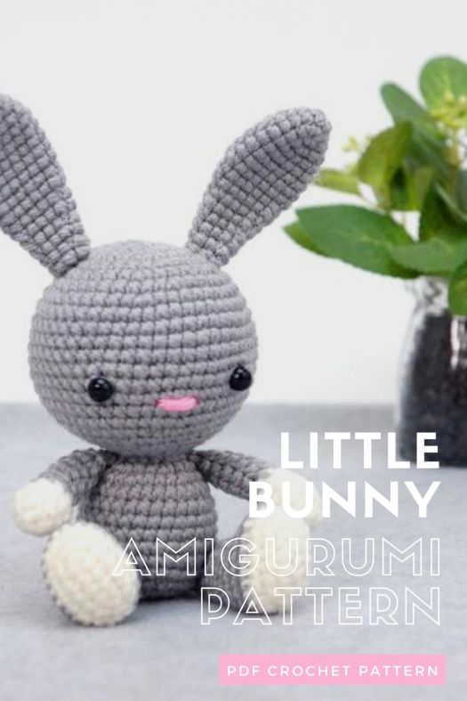 Adorable little bunny crochet toy pattern. Lovely amigurumi bunny rabbit. Enjoy making this quick little pattern for Easter. #crochetpattern #eastercrochet #springcrochet #amigurumipattern