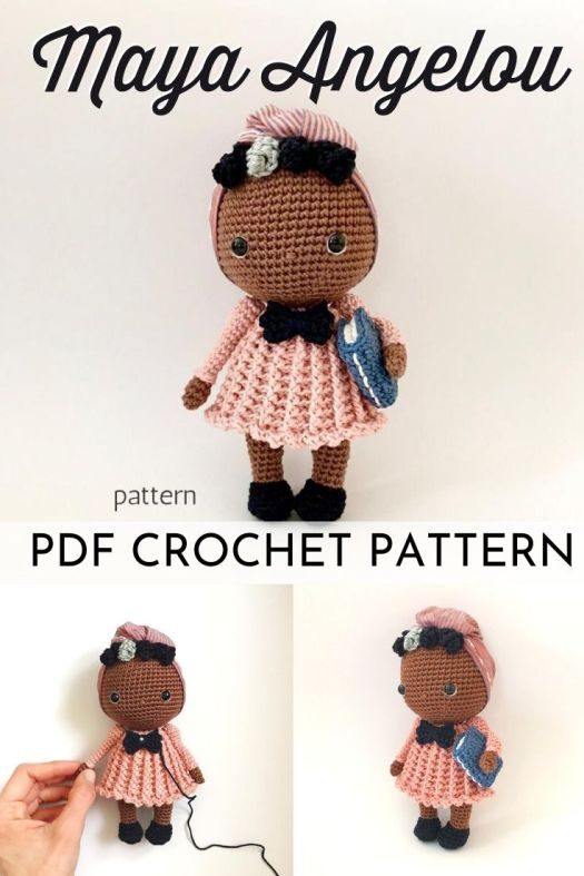 Miss Maya Angelou pdf crochet amigurumi pattern. Love this inspiring woman and this beautiful doll. What a great way to teach your kids about this prolific role model! #crochetpattern #amigurumipattern #mayaangelou #amigurumidoll #crochettoys #diytoys #handmadetoys #craftevangelist