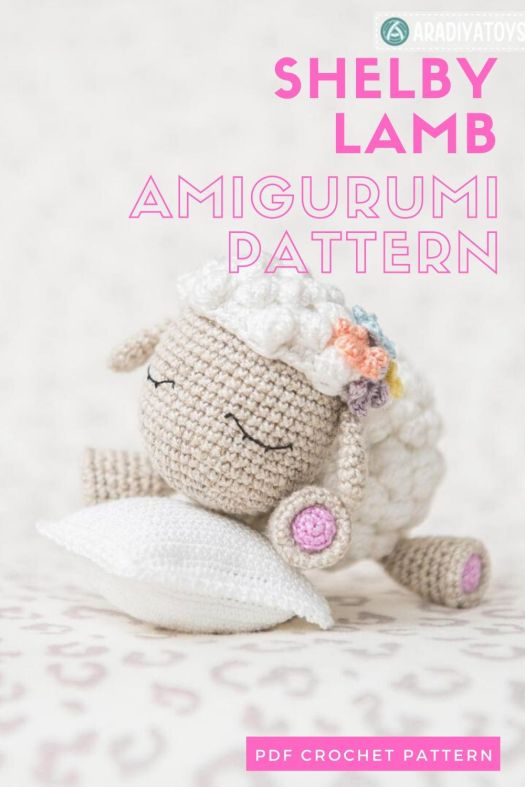 Adorable little sleeping Shelby the Lamb amigurumi crochet pattern! #yarn #crafts #lamb #sheep #crochetpattern #amigurumipattern #crochet #amigurumi #craftevangelist