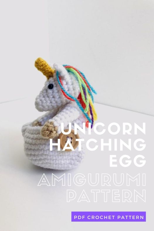 Unicorn Hatching Egg amigurumi crochet pattern, perfect little crochet pattern for Easter. Can't wait to make this adorable little handmade toy.  #crochetpattern #eastercrochet #springcrochet #amigurumipattern