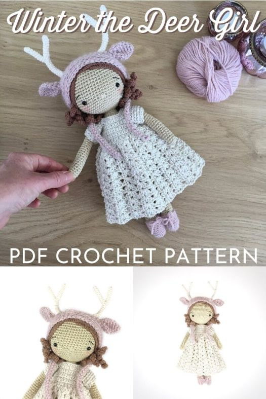 Sweet little amigurumi crochet doll pattern. Winter the deer girl doll crochet pattern. can't wait to make this adorable doll with a lacy dress. #crochetpattern #amigurumipattern #amigurumidoll #crochetdollpattern #craftevangelist