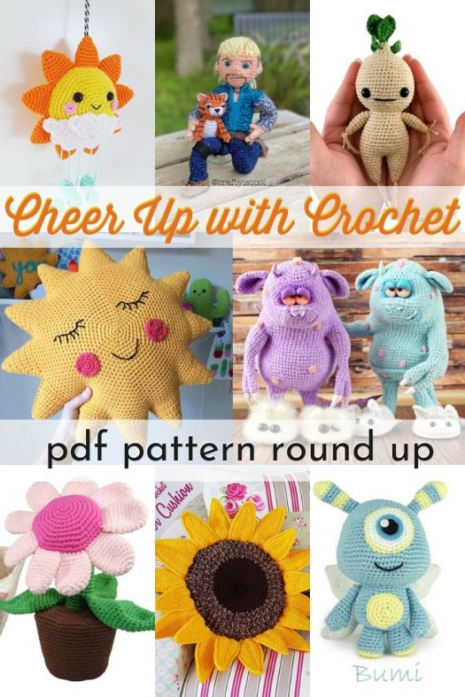 Cheery and Fun Crochet Patterns to lift your spirits. So many fun amigurumi and cheery cushion ideas to choose from! #crochetpatterns #amigurumipatterns #cheerycrochet #learntocrochet #amigurumi #crochetamigurumi #craftevangelist