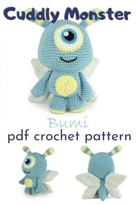 Adorable cuddly monster amigurumi crochet pattern. Can't wait to make this sweet little Bumi alien with butterfly wings crocheted toy! #crochetpattern #amigurumipattern #handmadetoypattern #crochettoypattern #craftevangelist