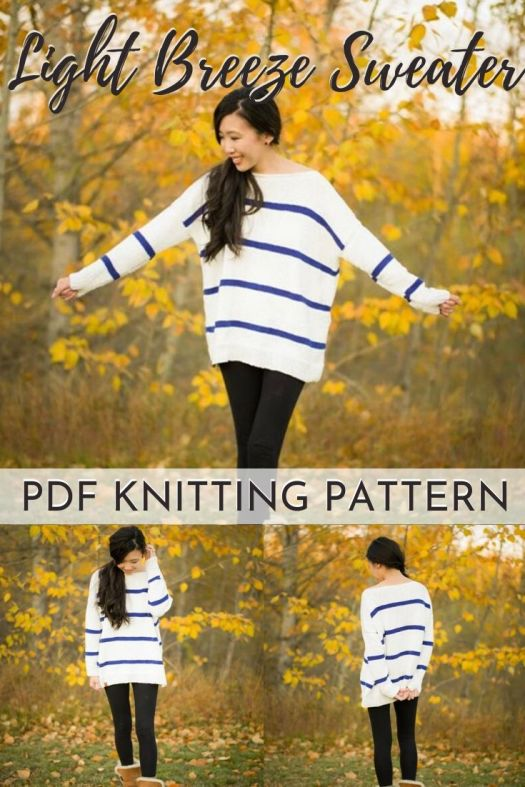 Relaxed and oversized comfy knit sweater pattern, perfect for transitional seasons like spring and fall. I love the stripes and the drapey fit of this cute sweater knitting pattern. Perfect beginner knitting pattern! #knittingpattern #beginnerknittingpattern #sweaterpattern #pdfpattern #allaboutami #craftevangelist