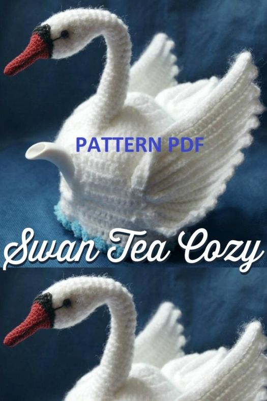 Swan Tea Cozy crochet pattern. What a fun idea! this pattern is so intricately made! Perfect tea cosy for the swan lover! Lovely Mother's Day gift idea! #crochetpattern #crochetteacozy #teacozypattern #teacosypattern #crochetteacosy #swans #craftevangelist