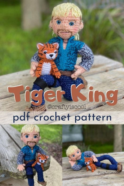 Tiger King inspired Joe Exotic amigurumi crochet pattern! OMG this is soooo fun! I can't wait to make one of these! #crochetpattern #amigurumipattern #joeexotic #tigerking #craftevangelist