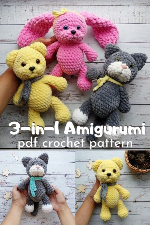Fun 3-in-1 crochet pattern that will make 3 different plush animals: the teddy bear, the fuzzy bunny and the kitty cat. Such an adorable pattern bundle. #crochetpattern #amigurumipattern #crochetedbunny #crochetedbear #crochetedkitty #craftevangelist