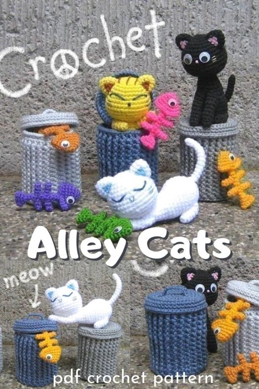 Alley Cats amigurumi crochet pattern. What a fun crochet pattern, complete with cats, fish bones and trash cans! Crochet this happy little set of patterns for the cat lover in your life. #crochetpattern #crochetcats #amigurumipattern #amigurumicats #stuffedtoys #craftevangelist