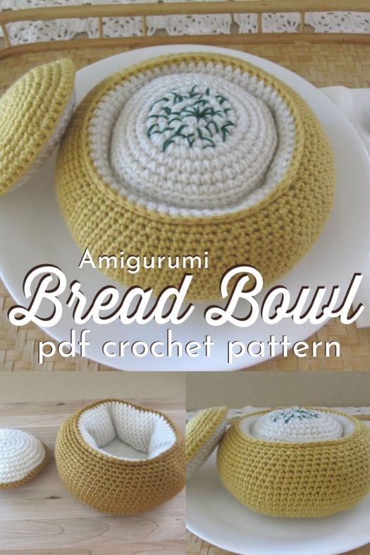 Adorable amigurumi bread bowl! How cute is this filled with amigurumi clam chowder!? What a fun crochet pattern for play food, perfect for the kids, as I'm getting sourdough obsessed! #crochetpattern #amigurumipattern #amigurumifood #amigurumibread #crochetplayfood #craftevangelist