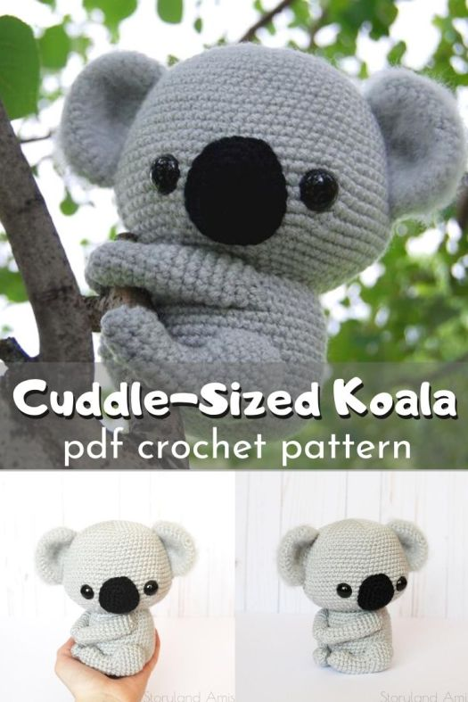 Adorable cuddle-sized koala amigurumi crochet pattern! Love this sweet little stuffed animal you can make yourself with this detailed pattern! #crochetpattern #amigurumipattern #crochetedtoys #crochetedstuffies #craftevangelist