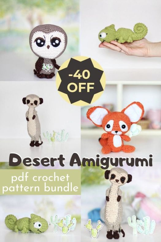 Fun bundle of 4 patterns for a great deal! 40% less than buying the patterns separately! Desert amigurumi crochet patterns make fun little projects to work on during the summer. #crochetpatterns #amigurumipatterns #patternbundle #craftevangelist
