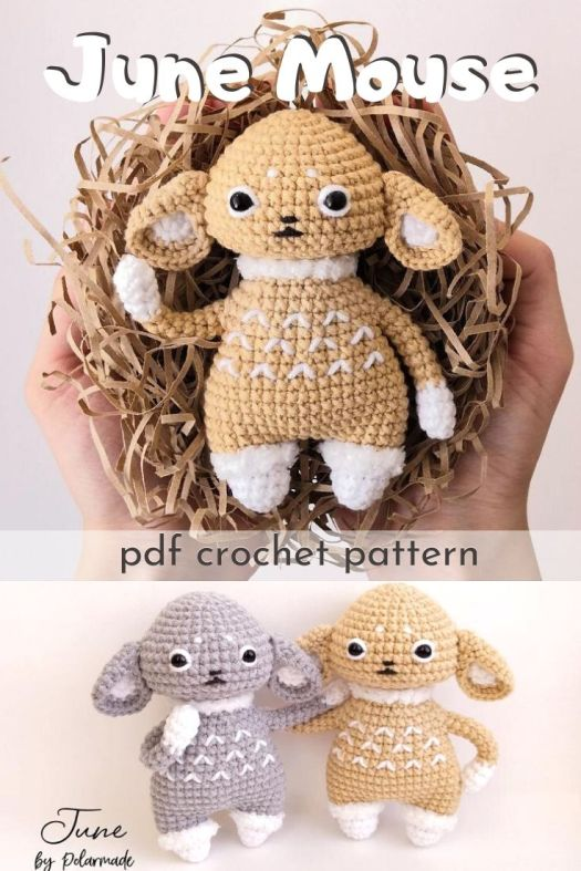 Adorable amigurumi little mouse or bunny pattern. So cute and cuddly, makes a perfect little handmade toy for a little one! Easy beginner amigurumi toy crochet pattern! #crochetpattern #amigurumipattern #toypattern #diystuffy #craftevangelist
