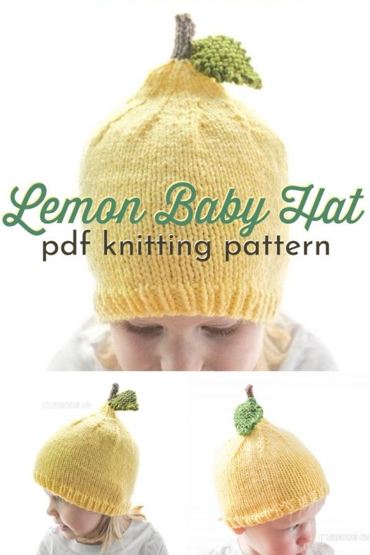 Sweet little lemon baby hat knitting pattern! Such a fun gender-neutral knit gift for a baby shower! Or just a fun whimsical hat for your little one. Lovely for new spring babies! #knithatpattern #knittingpattern #lemonknittingpattern #craftevangelist