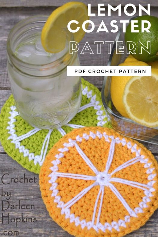 Crochet pattern for lemon slice coaster and lime slice coaster. Fun citrus inspired crochet pattern for your kitchen. Perfect to keep your lemonade from sweating onto your coffee table! #crochetpattern #crochetcoaster #lemoncoasterpattern #craftevangelist