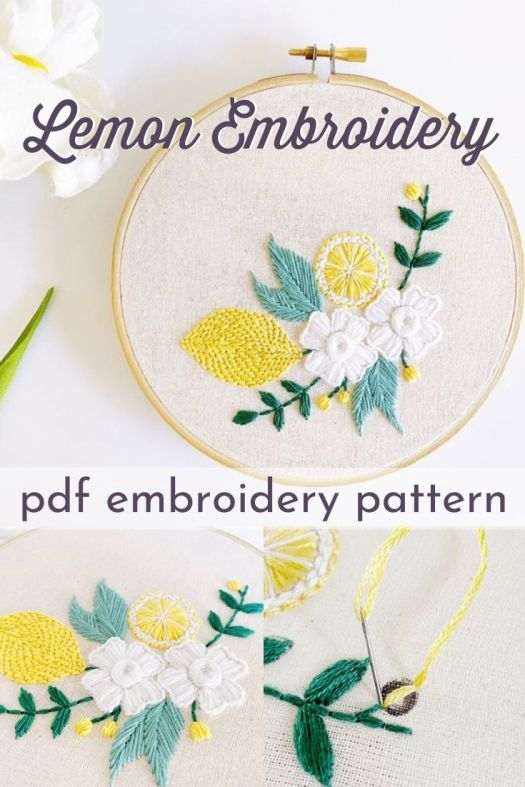 Lemon Embroidery Pattern. Lovely little beginner embroidery pattern with detailed instructions and stitch guides. Can't wait to make this sweet little pattern for my bathroom decor! #embroiderypattern #crafts #lemonembroidery #diydecor #craftevangelist