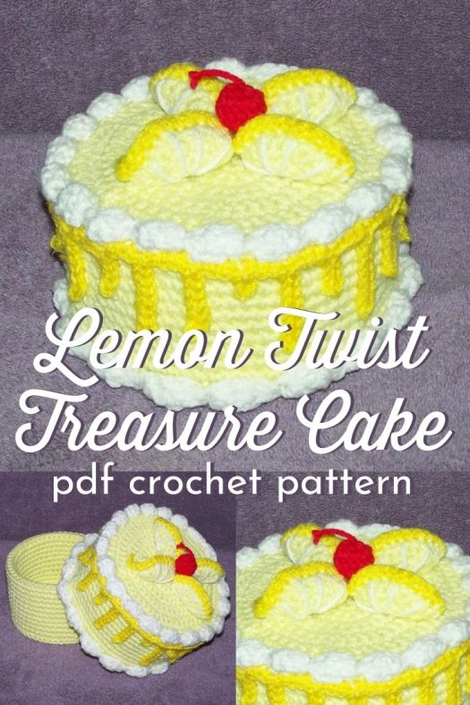 Super fun lemon cake amigurumi crochet pattern... with a twist! It opens up as a sweet little hidden treasure box! What a lovely surprise handmade gift idea for anyone! #crochetpattern #crochetamigurumipattern #amigurumipattern #crochetcakepattern #lemons #craftevangelist