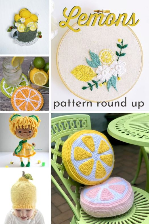 Super cute collection of lemon-themed craft patterns to make including crochet patterns, knitting patterns, and embroidery and cross stitch patterns. I love all the yellow lemons!