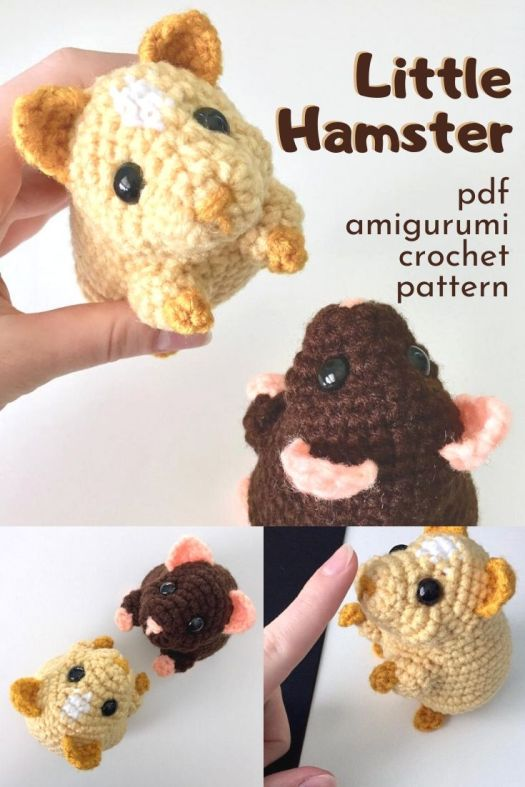 Adorable little palm-sized amigurumi hamster crochet pattern. I love these small crocheted toys! They're so great for making in the warmer months. So cute. Makes a great pet for a kid who can't have a real one. #crochetpattern #amigurumipattern #crochethamster #craftevangelist