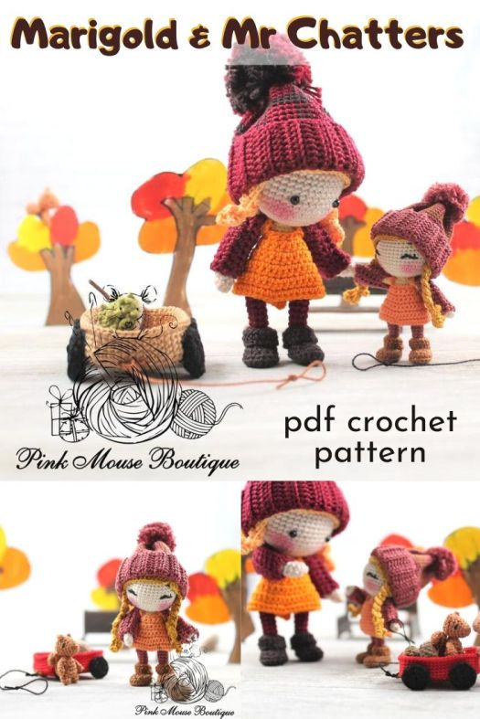 Sweet little tiny doll crochet pattern can be made in any sized yarn for a larger cuddly doll or a tiny toy! Love this sweet little doll pattern, complete with wagon and little bear toy! #crochetpattern #crochetdollpattern #amigurumipattern #amigurumidollpattern #craftevangelist