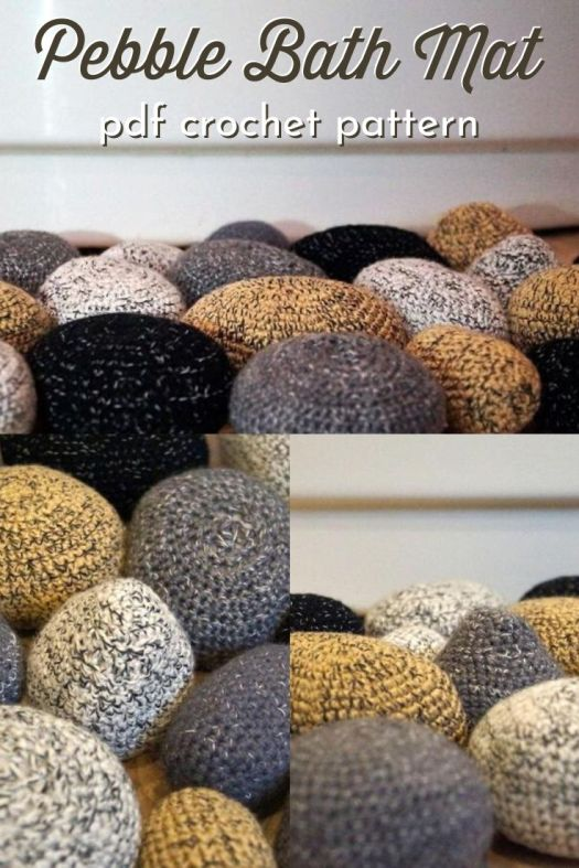 Soft and funky crocheted and stuffed pebble bath mat crochet pattern! Perfect diy project to add a natural and organic feel to your bathroom. #crochetpattern #crochetbathmat #crochetrug #crochetpebblerug #craftevangelist
